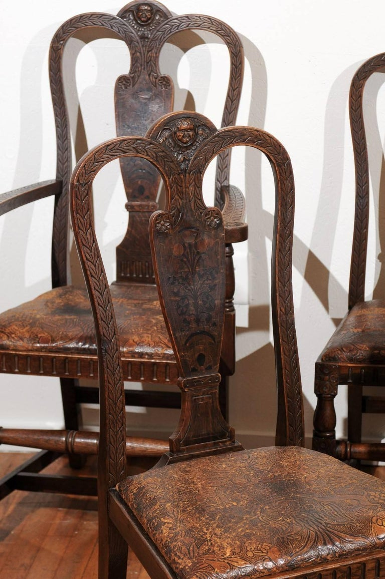 Set of Eight English Carved and Inlaid Oak Dining Chairs In Good Condition For Sale In Atlanta, GA