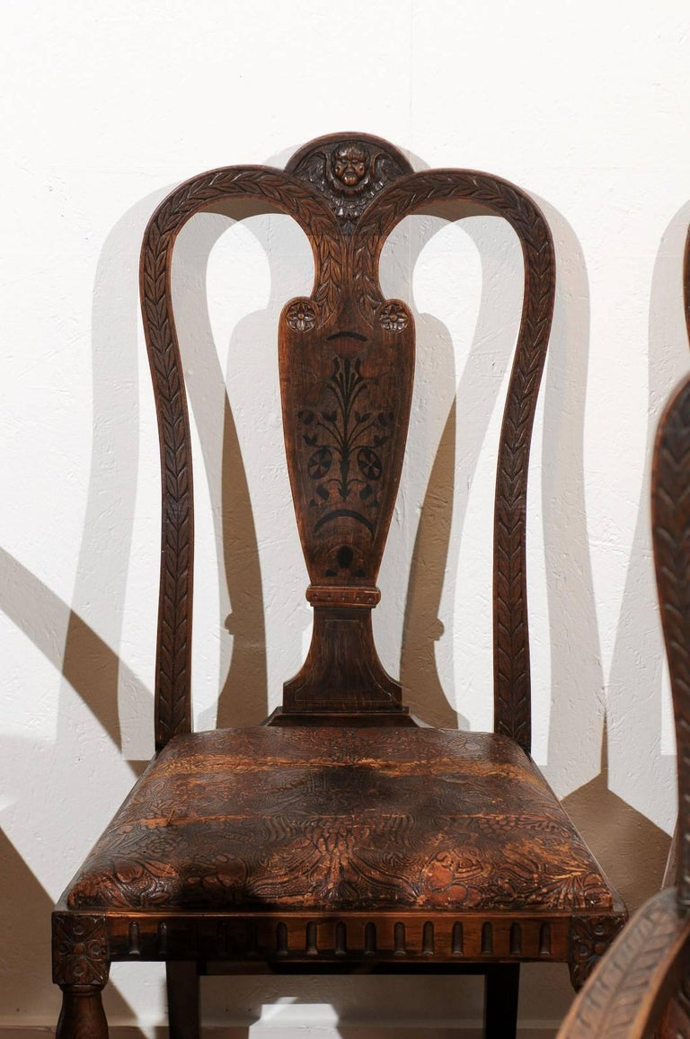 19th Century Set of Eight English Carved and Inlaid Oak Dining Chairs For Sale