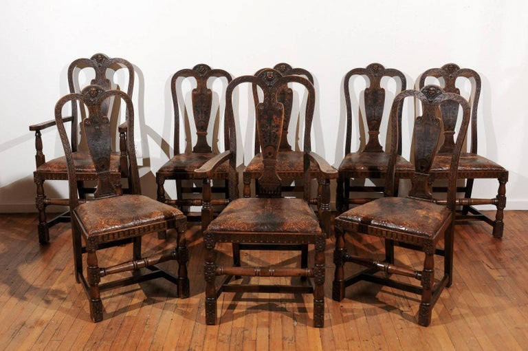 Victorian Set of Eight English Carved and Inlaid Oak Dining Chairs For Sale