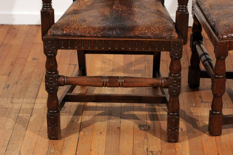 Set of Eight English Carved and Inlaid Oak Dining Chairs For Sale 4