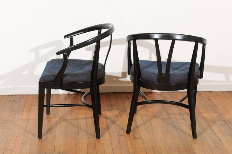 Walnut Set of Six Mid-Century Dining Chairs For Sale
