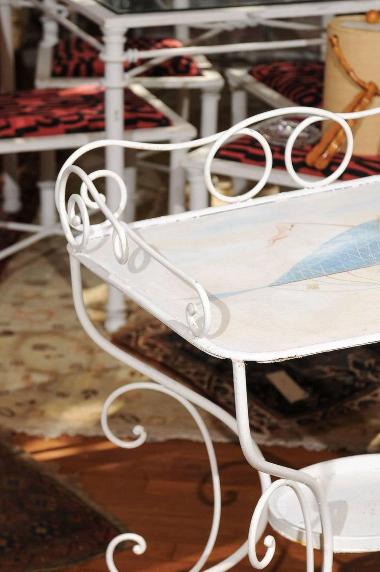 French Wrought Iron Garden Table with Steampunk Painting For Sale 2