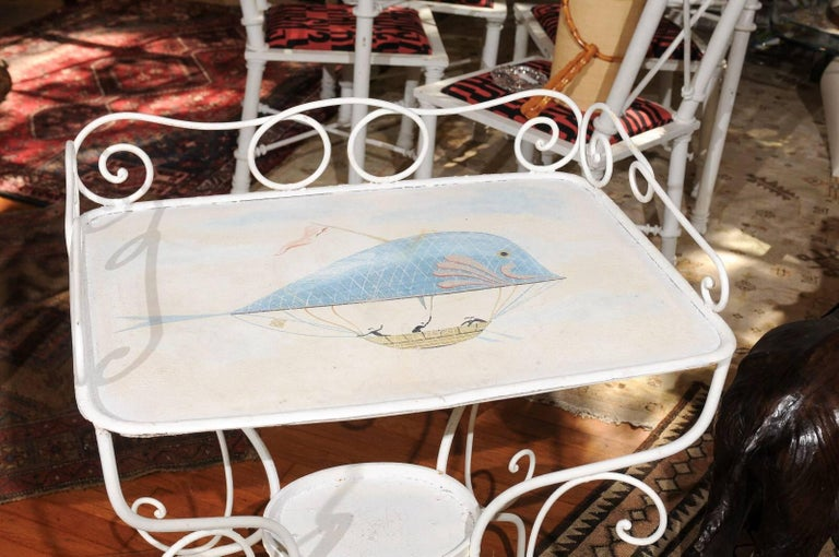 19th Century French Wrought Iron Garden Table with Steampunk Painting For Sale