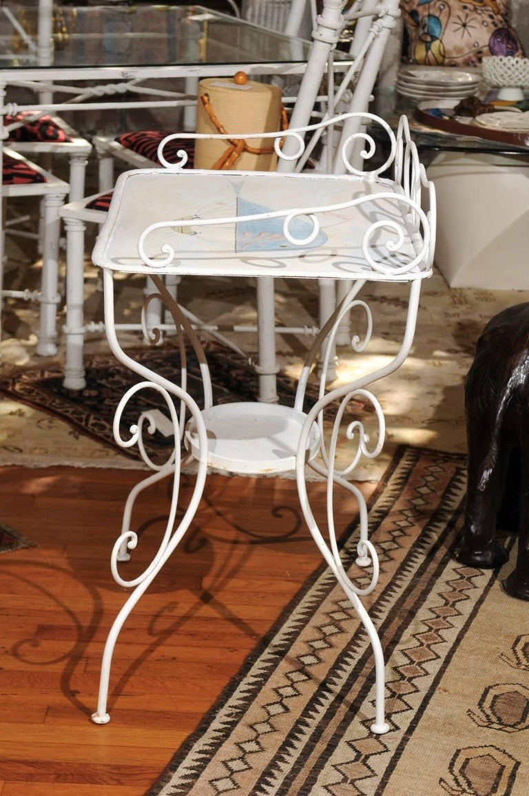 Art Nouveau French Wrought Iron Garden Table with Steampunk Painting For Sale