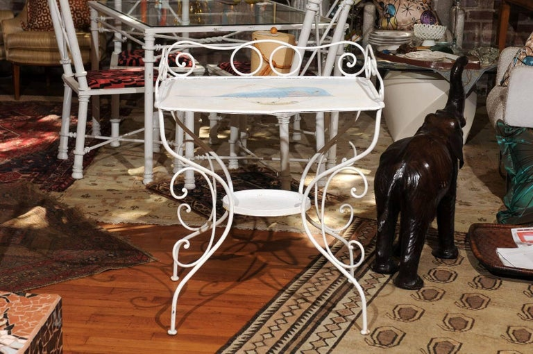 French Wrought Iron Garden Table with Steampunk Painting In Good Condition For Sale In Atlanta, GA