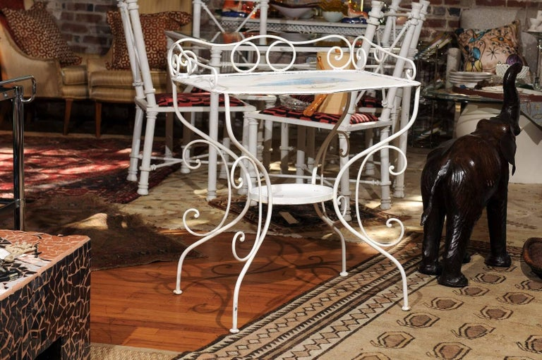 French Wrought Iron Garden Table with Steampunk Painting For Sale 4