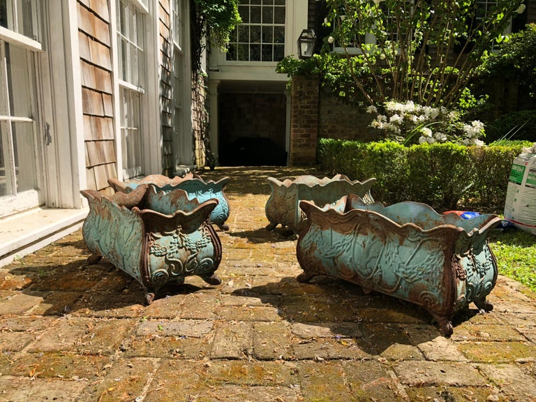 Set of Four 19th Century French Iron Planters In Good Condition For Sale In Atlanta, GA
