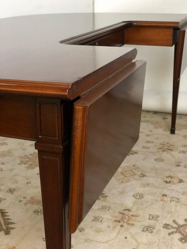 20th Century Mahogany Drop Leaf Demilune Desk For Sale