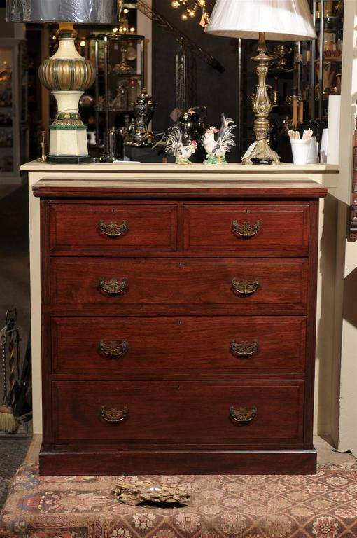 English 19th Century Victorian chest of mahogany with two smaller drawers over three larger, all paneled and having brass escutcheons and pierced brass bat wing backplates and bail handles.  The case rests on a plinth base.