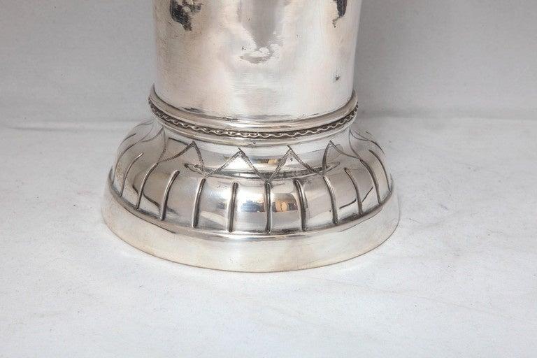 German Large Art Deco Continental Silver (.800) Hanau Vase For Sale