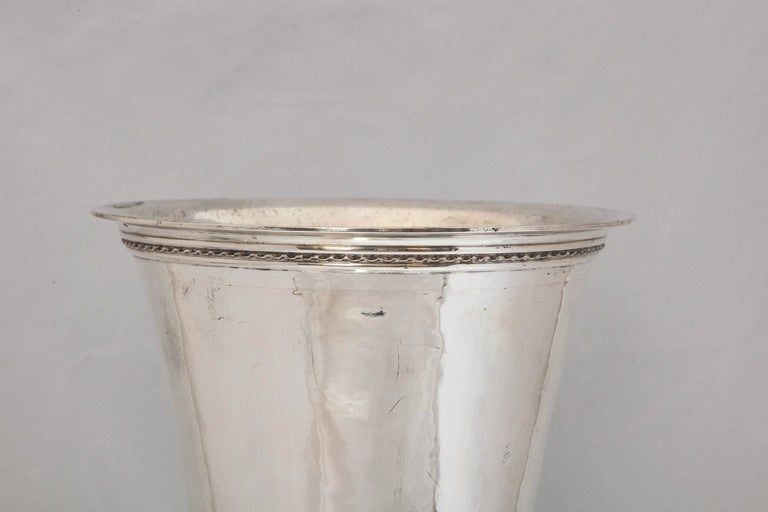 Hammered Large Art Deco Continental Silver (.800) Hanau Vase
