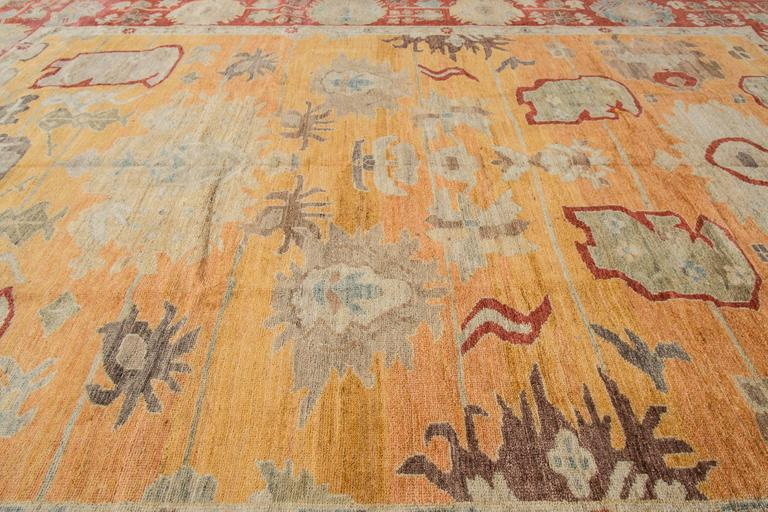 21st Cent Modern Yellow Persian Sultanabad Carpet For