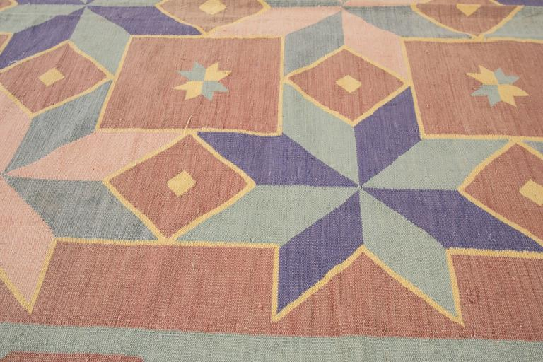 Mid-20th Century Fantastic Vintage Indian Dhurrie Rug For Sale