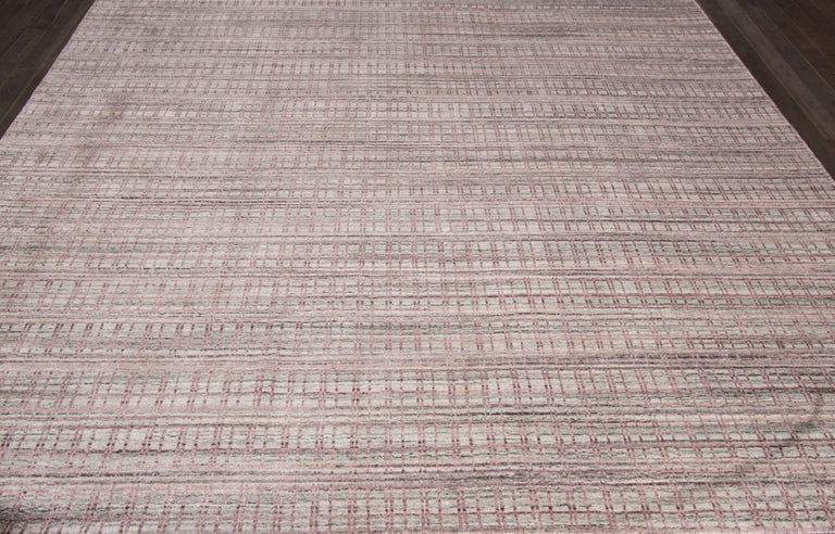 Wool 21st Century Modern Hand-Loomed Indian Rug For Sale
