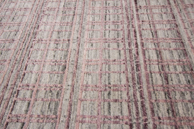 Contemporary 21st Century Modern Hand-Loomed Indian Rug For Sale