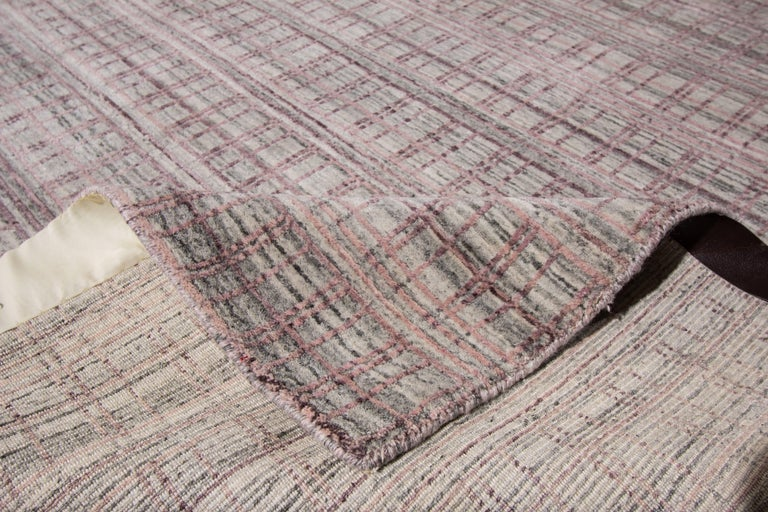 Hand-Knotted 21st Century Modern Hand-Loomed Indian Rug For Sale