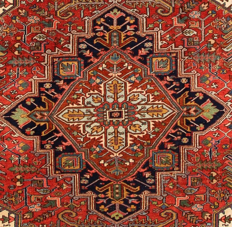 Hand-Knotted Antique Rust and Blue Persian Heriz Carpet For Sale