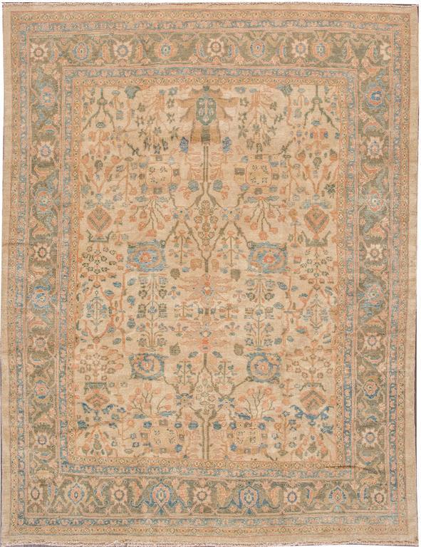 21st Century Modern Cream Blue Persian Sultanabad Carpet