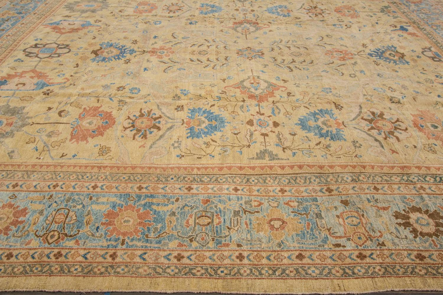 Persian Sultanabad Carpet With A Bordered All over Floral Design