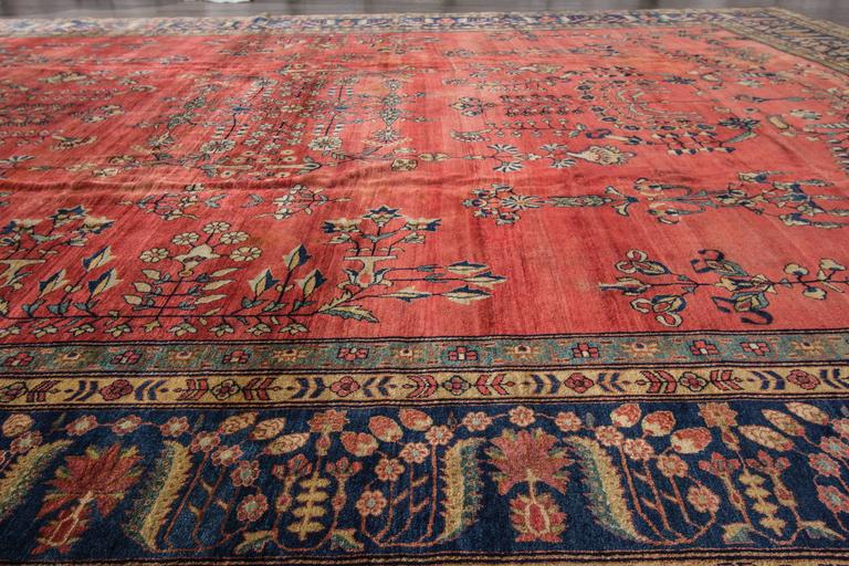 Antique Late 19th Century Rust Blue Persian Farahan