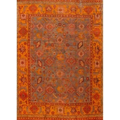 Antique 19th Century Orange, Blue Turkish Oushak Carpet