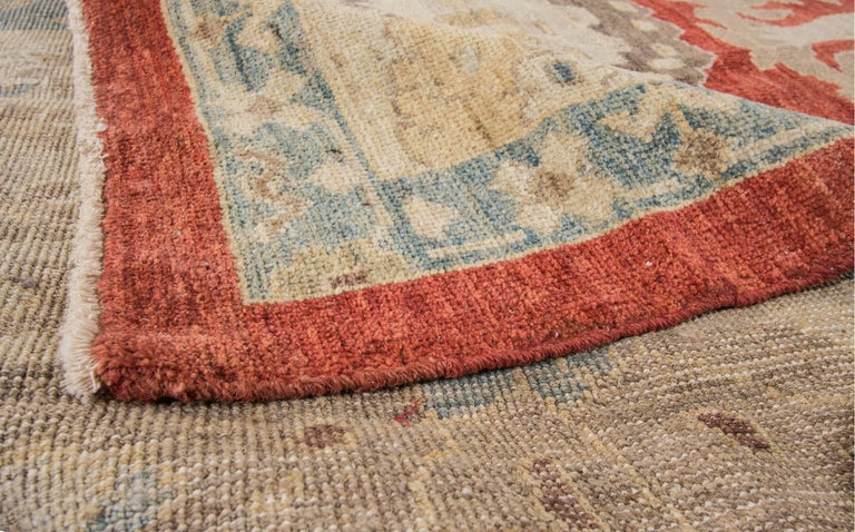 21st Century Modern Red Tan Floral Sultanabad Carpet For
