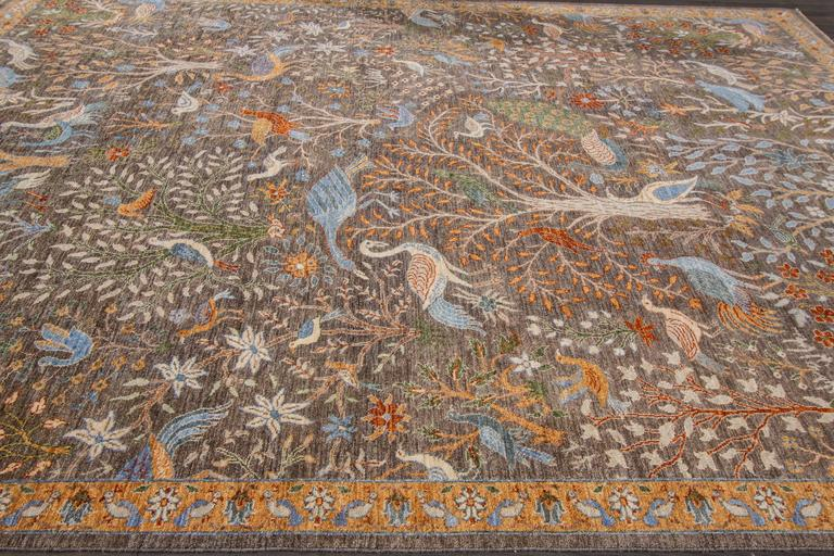 21st Century Modern Brown Pictorial Persian Tabriz Rug For