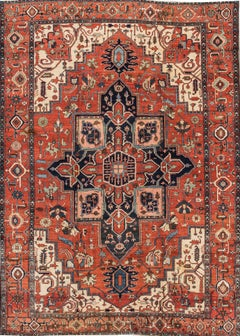 19th Century Antique Serapi Handmade Rust Persian Wool Rug