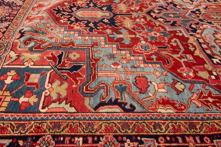 Heriz Serapi Antique Rust and Blue Persian Heriz Rug For Sale