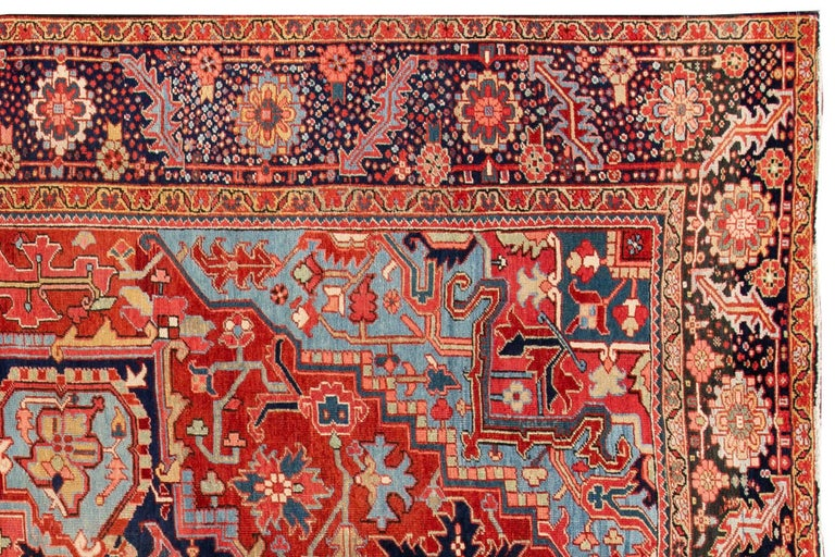 Hand-Knotted Antique Rust and Blue Persian Heriz Rug For Sale