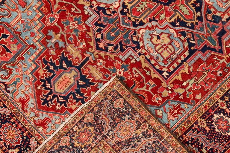 Wool Antique Rust and Blue Persian Heriz Rug For Sale