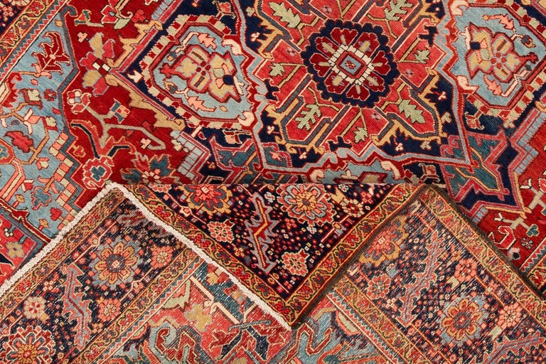 Antique Rust and Blue Persian Heriz Rug For Sale 1