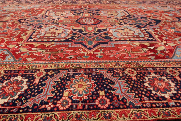 Antique Rust and Blue Persian Heriz Rug For Sale 2