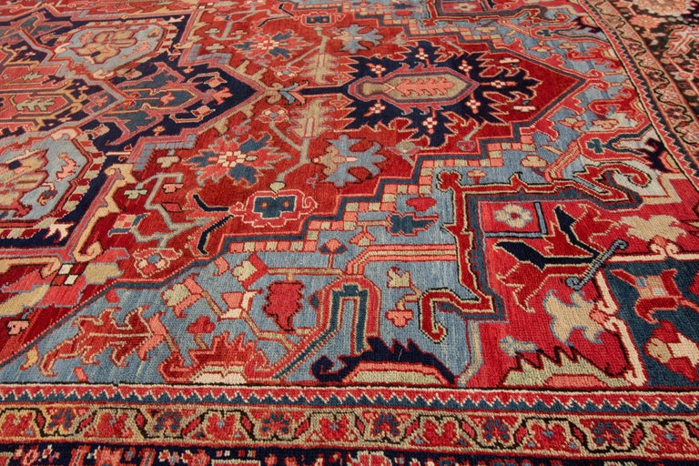 Antique Rust and Blue Persian Heriz Rug For Sale 3