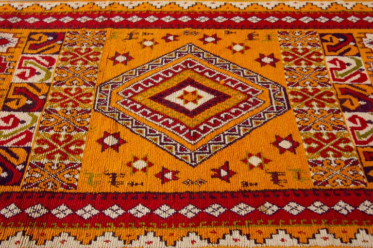 Hand-Knotted Orange and Red Tribal Moroccan Rug In Good Condition For Sale In Norwalk, CT