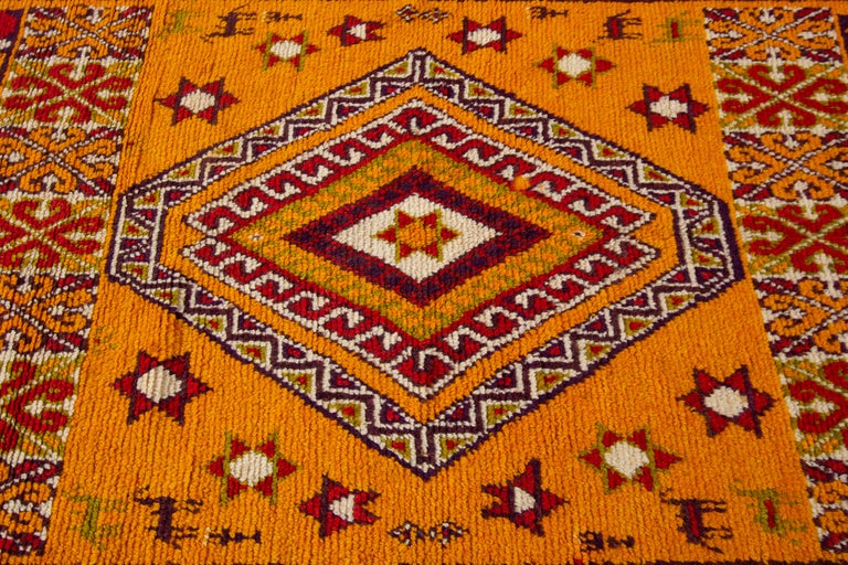 Mid-20th Century Hand-Knotted Orange and Red Tribal Moroccan Rug For Sale