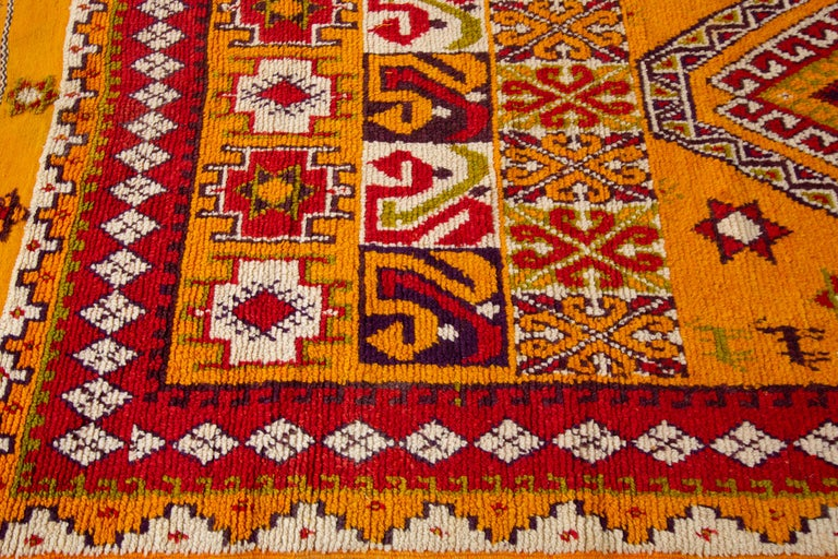 Wool Hand-Knotted Orange and Red Tribal Moroccan Rug For Sale