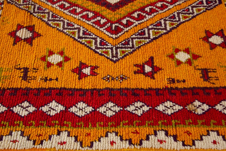 Hand-Knotted Orange and Red Tribal Moroccan Rug For Sale 1