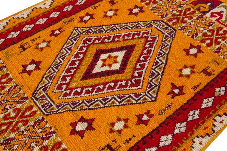 Hand-Knotted Orange and Red Tribal Moroccan Rug For Sale 2