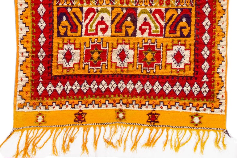 Hand-Knotted Orange and Red Tribal Moroccan Rug For Sale 3