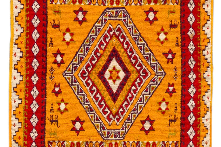 Hand-Knotted Orange and Red Tribal Moroccan Rug For Sale 4