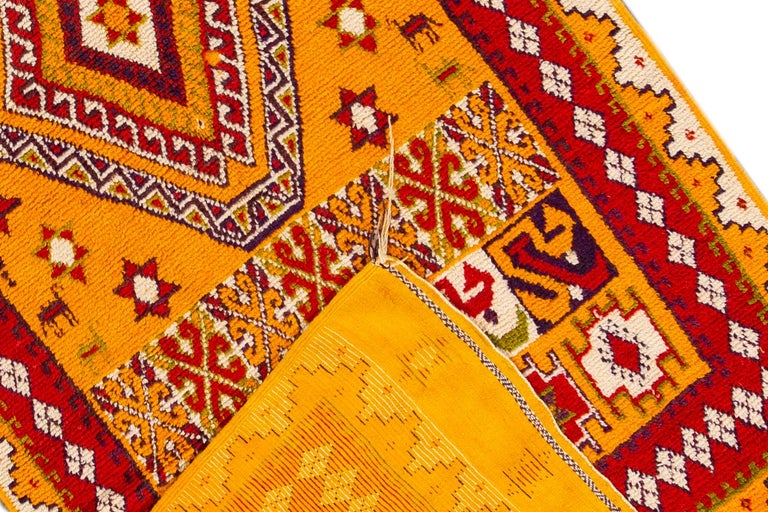 Hand-Knotted Orange and Red Tribal Moroccan Rug For Sale 5