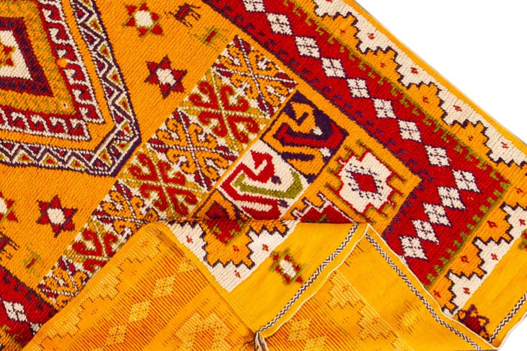 Hand-Knotted Orange and Red Tribal Moroccan Rug For Sale 6