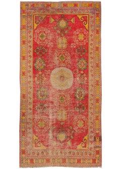Antique Turkish Khotan Handmade Red Wool Runner