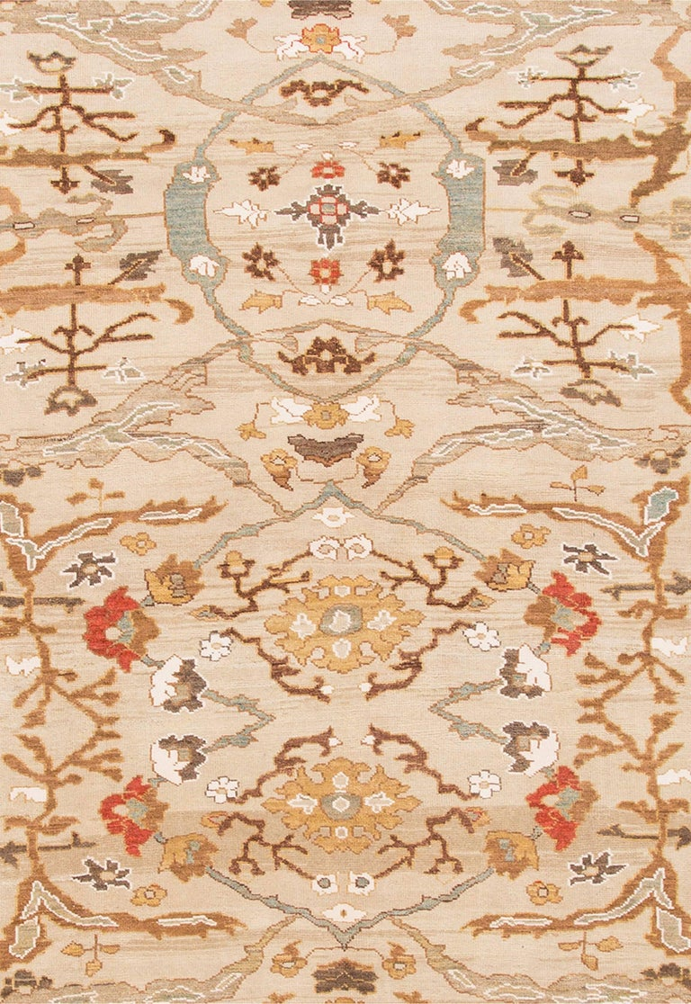 Large 21st Century Ivory Sultanabad Area Rug For Sale At