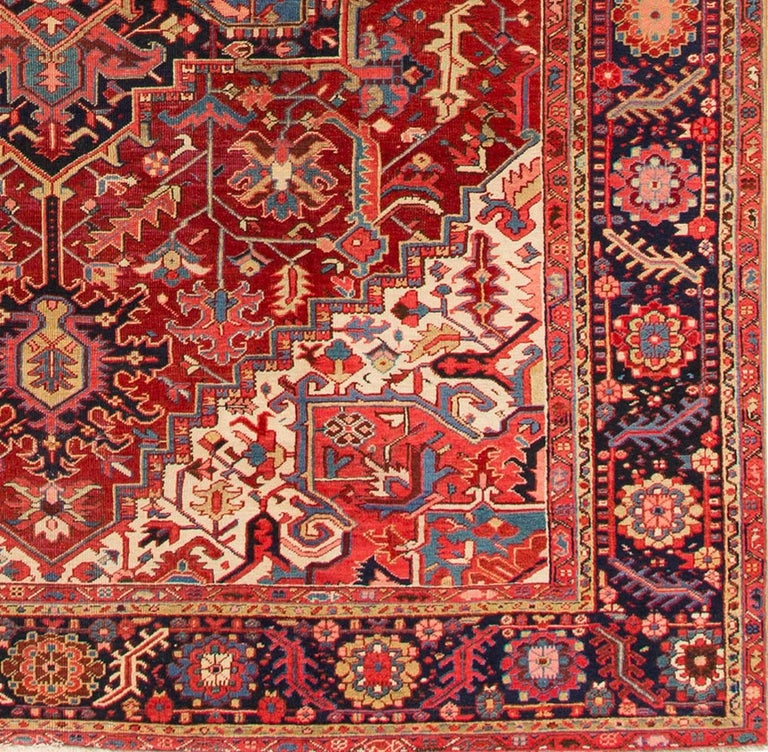 Persian Large Antique Red/Rust Geometric Heriz Carpet For Sale