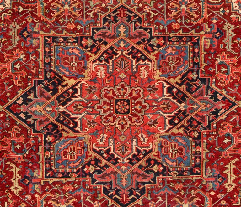 Hand-Knotted Large Antique Red/Rust Geometric Heriz Carpet For Sale