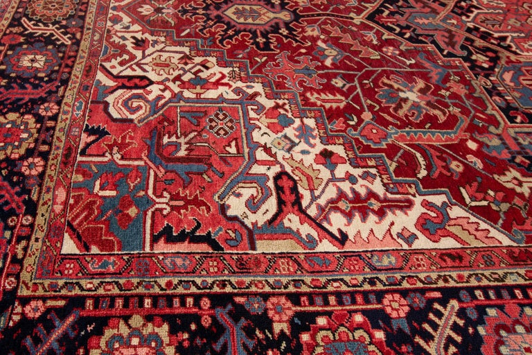 Persian Large Antique Red/Rust Geometric Heriz Carpet For Sale