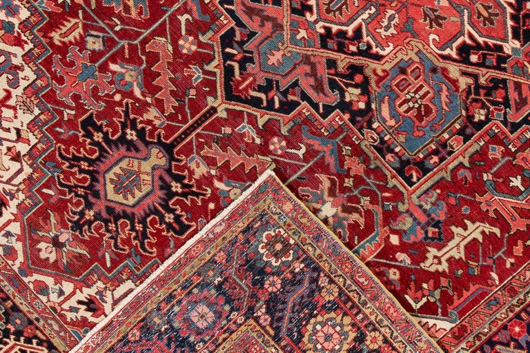 Early 20th Century Large Antique Red/Rust Geometric Heriz Carpet For Sale