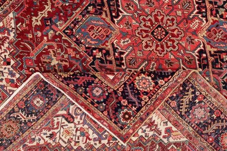 Wool Large Antique Red/Rust Geometric Heriz Carpet For Sale